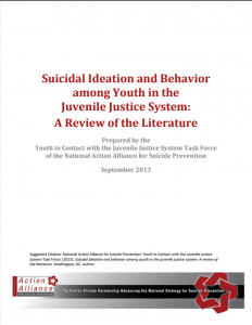 Suicidal Ideation and Behavior among Youth in the Juvenile Justice System: A Review of the Literature Cover