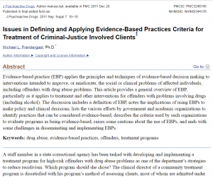 Issues in Defining and Applying Evidence-Based Practices Criteria for Treatment of Criminal-Justice Involved Clients Cover