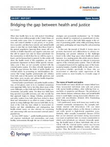 Bridging the Gap Between Health and Justice Cover