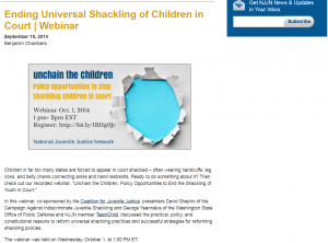 Unchain the Children: Policy Opportunities to Stop Shackling Children in Court [Webinar] Cover