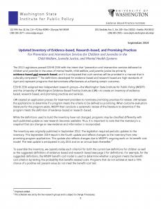 Updated Inventory of Evidence-Based, Research-Based, and Promising Practices for Prevention and Intervention Services For Children and Juveniles in the Child Welfare, Juvenile Justice, and Mental Health Systems Cover