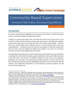 › Community-Based Supervision: Increased Public Safety, Decreased Expenditures Cover