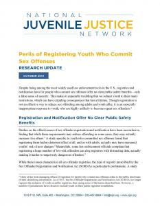 Perils of Registering Youth Who Commit Sex Offenses: Research Update Cover