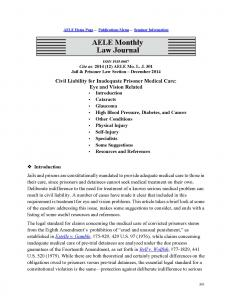 Civil Liability for Inadequate Prisoner Medical Care: Eye and Vision Related Cover