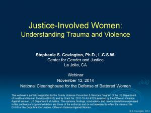 › Justice-Involved Women: Understanding Trauma and Violence [Webinar] Cover