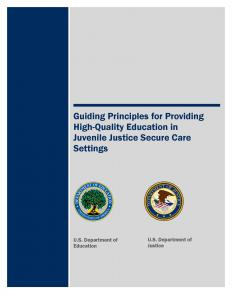Guiding Principles for Providing High-Quality Education in Juvenile Justice Secure Care Settings Cover