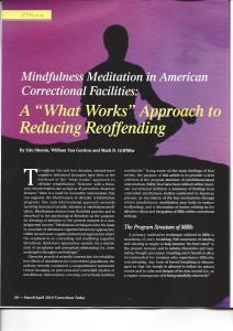 "Mindfulness Meditation in American Correctional Facilities: A ""What Works"" Approach to Reducing Reoffending Cover"
