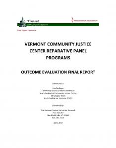 Vermont Community Justice Center Reparative Panel Programs: Outcome Evaluation Final Report Cover