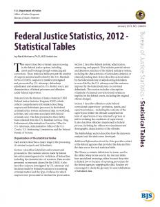Federal Justice Statistics, 2012 - Statistical Tables Cover