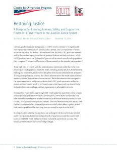 Restoring Justice: A Blueprint for Ensuring Fairness, Safety, and Supportive Treatment of LGBT Youth in the Juvenile Justice System Cover