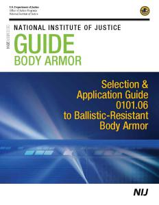 Selection and Application Guide to Ballistic-Resistant Body Armor for Law Enforcement, Corrections and Public Safety Cover
