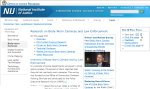 Equipment and Technology Research on Body-Worn Cameras and Law Enforcement Cover
