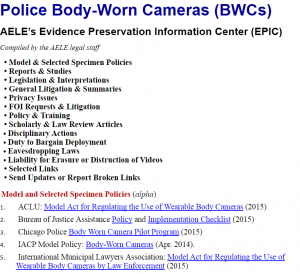 Police Body-Worn Cameras (BWCs) cover