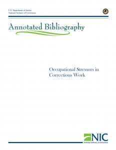 Occupational Stressors in Corrections Work Annotated Bibliography Cover