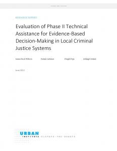 Evaluation of Phase II Technical Assistance for Evidence-Based Decision-Making in Local Criminal Justice Systems Cover