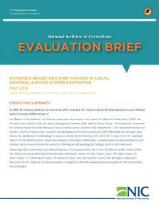 Evidence-Based Decision Making in Local Criminal Justice Systems Initiative Cover