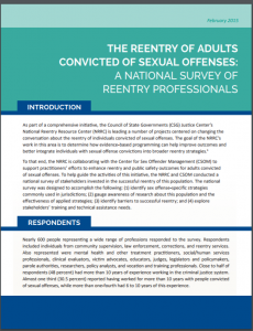 The Reentry of Adults Convicted of Sexual Offenses: A National Survey of Reentry Professionals Cover