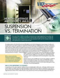 Health Coverage and County Jails: Suspension vs. Termination Cover