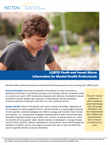LGBTQ Youth and Sexual Abuse: Information for Mental Health Professionals cover