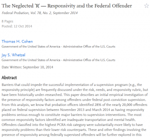 "The Neglected ""R"" – Responsivity and the Federal Offender cover"