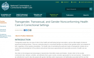 Transgender, Transsexual, and Gender Nonconforming Health Care in Correctional Settings cover