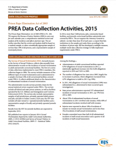 PREA Data Collection Activities, 2015 cover