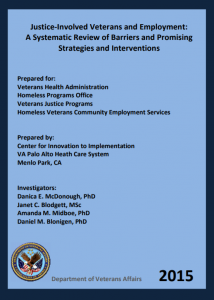 Justice-Involved Veterans and Employment: A Systematic Review of Barriers and Promising Strategies and Interventions Cover