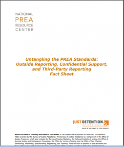 Untangling the PREA Standards: Outside Reporting, Confidential Support, and Third-Party Reporting Fact Sheet Cover