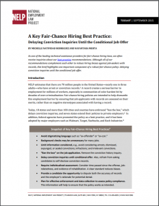 A Key Fair-Chance Hiring Best Practice: Delaying Conviction Inquiries Until the Conditional Job Offer cover