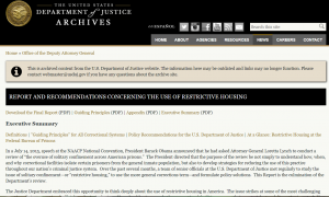 U.S. Department of Justice Report and Recommendations Concerning the Use of Restrictive Housing Cover