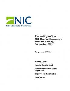 Proceedings of the NIC Chief Jail Inspectors Network Meeting, September 2015 Cover