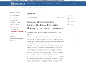 Presidential Memorandum -- Limiting the Use of Restrictive Housing by the Federal Government Cover