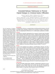 Extended-Release Naltrexone to Prevent Opioid Relapse in Criminal Justice Offenders Cover