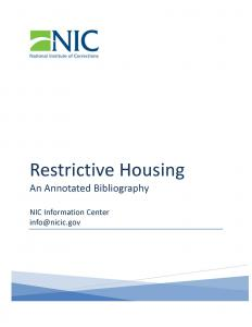 Restrictive Housing Cover