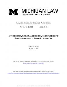 Ban the Box, Criminal Records, and Statistical Discrimination Cover