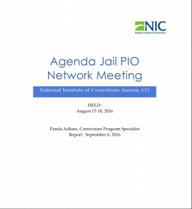 Agenda Jail PIO Network Meeting [Proceedings] Cover