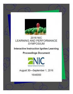 2016 NIC Learning and Performance Symposium Cover