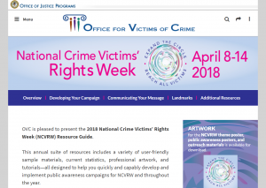 2018 National Crime Victims' Rights Week (NCVRW) Resource Guide cover
