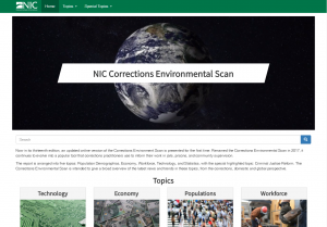 A screenshot of the Corrections Environmental Scan Website