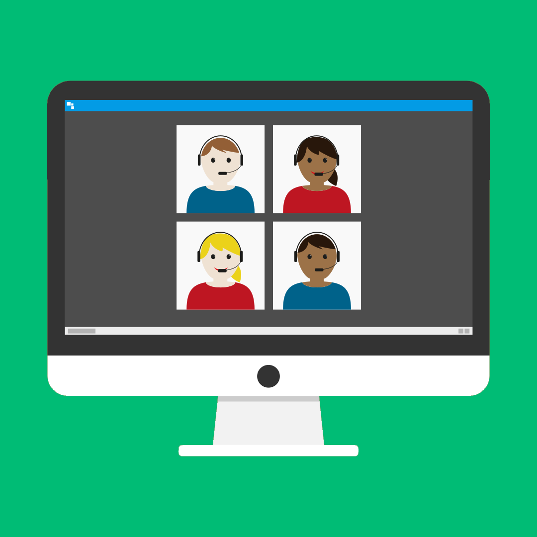 illustrated, four people on a webinar