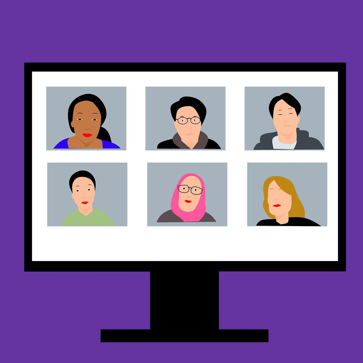 illustrated, a webinar with a diverse set of people on the screen
