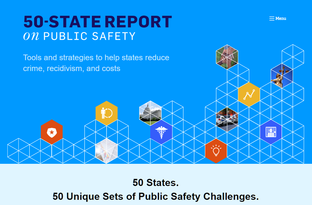 screenshot of the 50 state report website