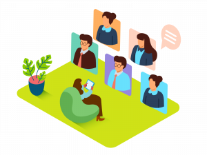 a person in a chair meeting virtually with others