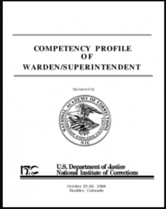 Competency Profile of Warden/Superintendent Cover