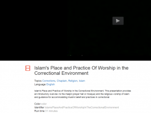 Islam's Place and Practice of Worship in the Correctional Environment Cover