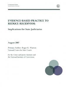 Evidence-Based Practice to Reduce Recidivism Cover
