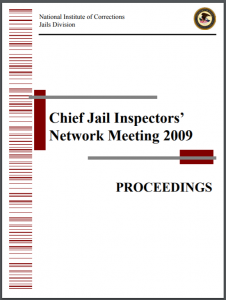 Chief Jail Inspectors' Network Meeting Proceedings, 2009 Cover