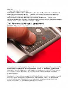 Cell Phones as Prison Contraband Cover