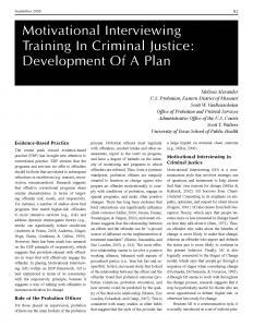 Motivational Interviewing Training In Criminal Justice: Development of a Model Plan Cover