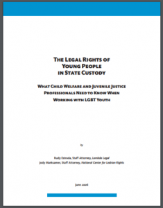 The Legal Rights of Young People in State Custody: What Child Welfare and Juvenile Justice Professionals Need to Know When Working with LGBT Youth Cover